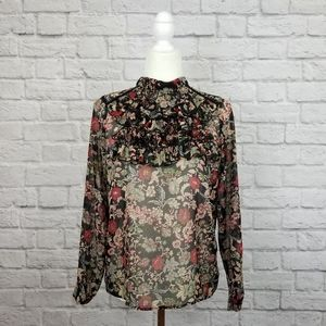 Zara black multicolor floral sheer ruffled top
